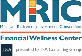 Logo for MRIC Financial Wellness Center presented by TSA Group